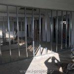 εφαρμογή προφίλ για τοποθέτηση τσιμεντοσανίδας για διαχωρισμό γραφείων στην Αθήνα
