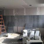 εφαρμογή τσιμεντοσανίδας σε τοίχο για διαχωρισμό ενιαίου χώρου γραφείων
