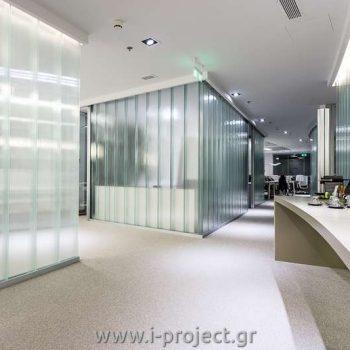 χωρίσματα και οροφή γυψοσανίδας στα γραφεία channel VAS sa