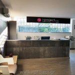 κατασκευές τσιμεντοσανίδας και γυψοσανίδας για τη reception της εταιρίας ξηράς δόμησης i-project ΕΠΕ